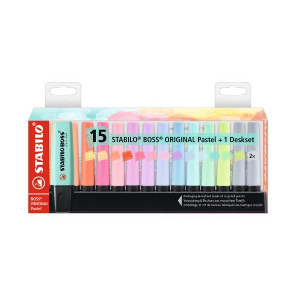 STABILO思筆樂 BOSS波士馬卡龍色經典螢光筆15色桌上展示組